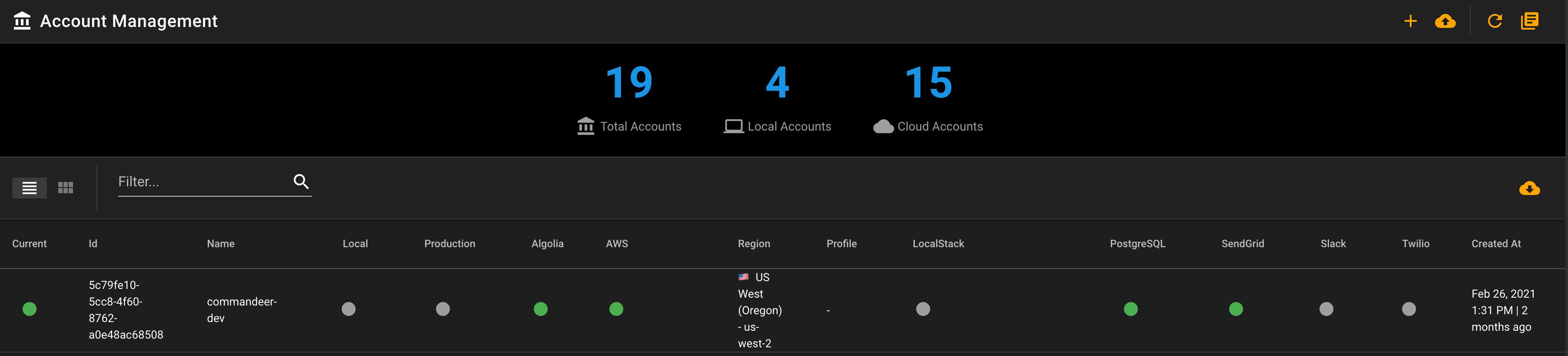 Commandeer Accounts Dashboard