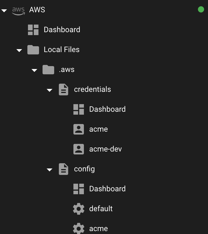 .aws/credentials and .aws/config file navigation