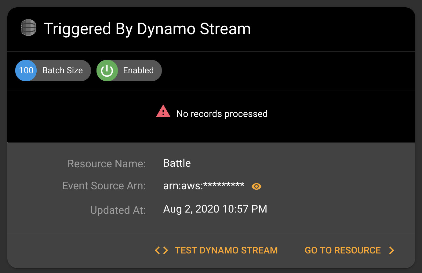 Dynamo stream connected to Lambda