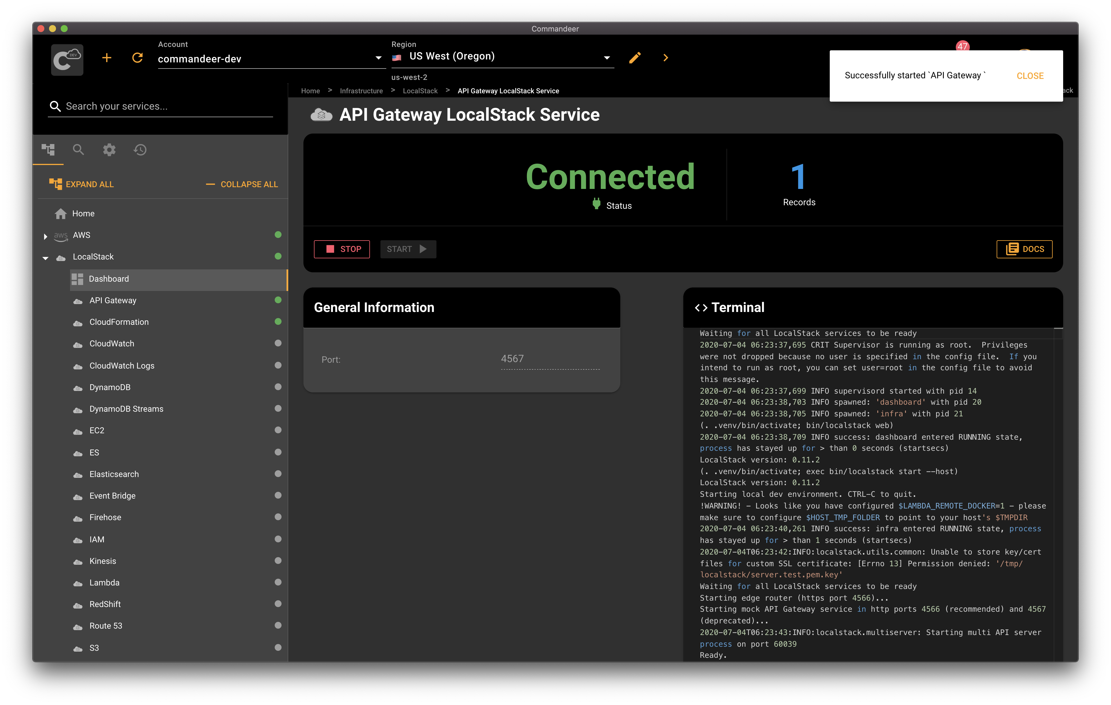 API Gateway started as an individual service in LocalStack