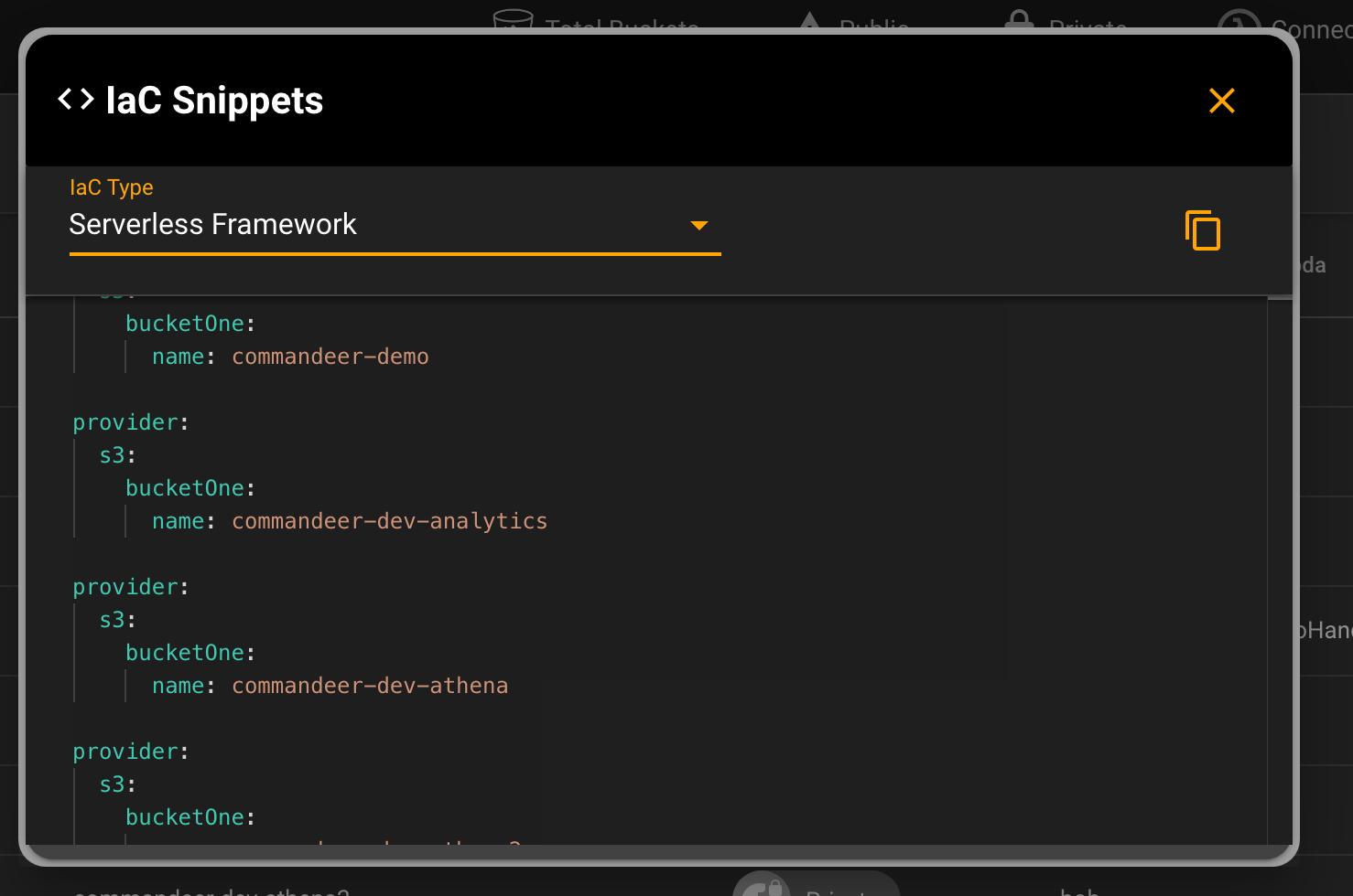 Serverless Framework IaC Snippet