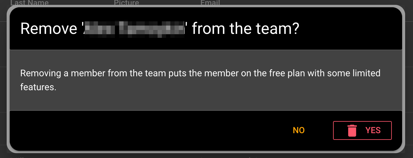 Removing a team member from the team